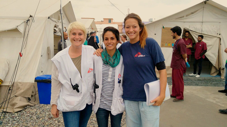 Valérie Gruhn (center) in Mosul, Iraq 2017