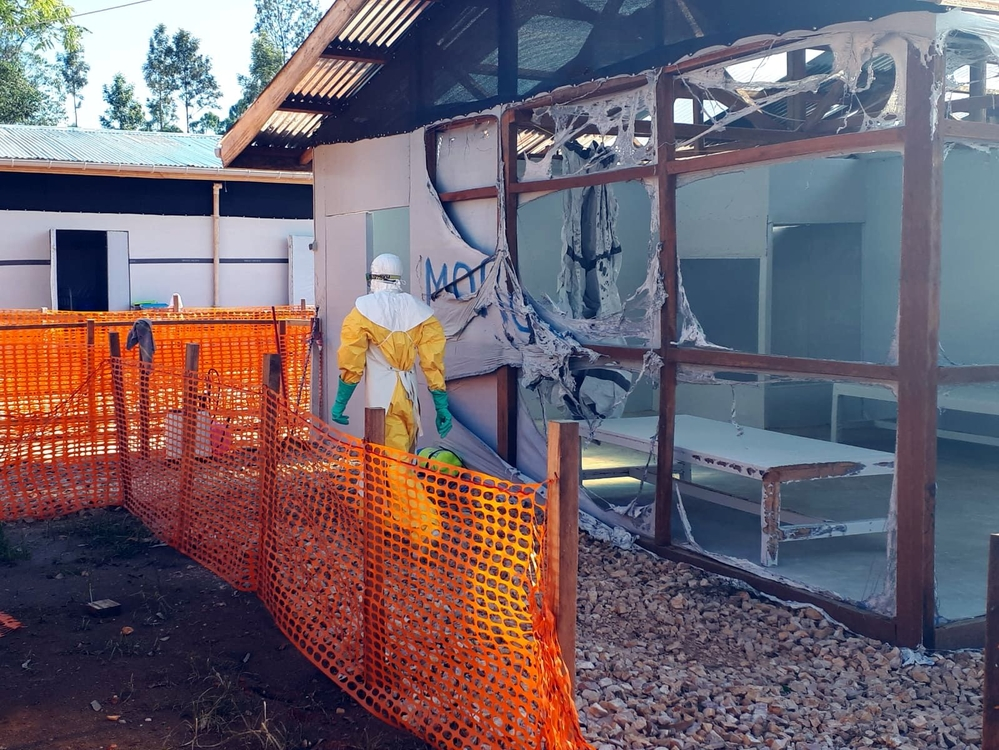 Damage after attack on MSF Ebola treatment center